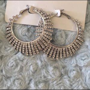 Sunburst Faux Rhinestone Hoop Earrings